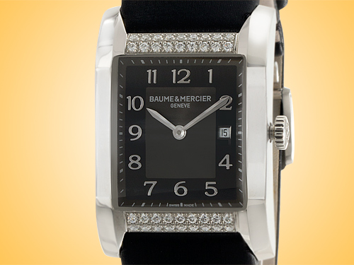 Baume & Mercier Hampton Black Dial Quartz Stainless Steel Ladies Watch MOA10024