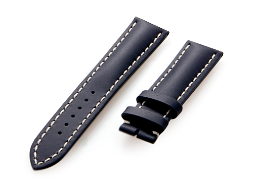 Breitling Navy Blue Color Leather Strap with White Stitching 105X