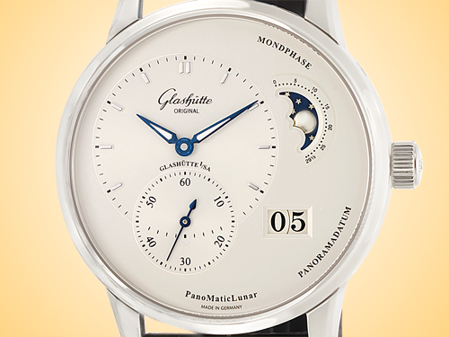 Glashutte Original PanoMaticLunar Men's Silver tone Dial Automatic Stainless Steel Watch 90-02-42-32-05