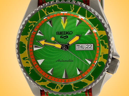 Seiko 5 X Street Fighter Limited Edition Blanka Automatic PVD-coated Stainless Steel Watch SRPF23K1