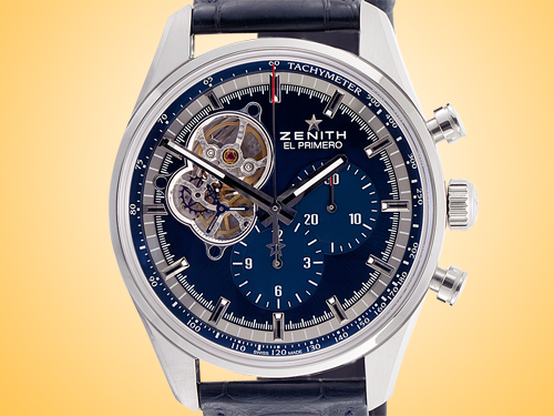 ZENITH Chronomaster El Primero Open Blue Dial Men's Automatic Stainless Steel Chronograph Watch 03.20416.4061/51.C700