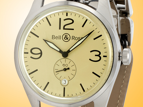 Bell & Ross Original Beige Satin Steel Automatic Men�s Watch BR-123-BEIGE