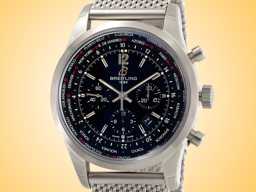 Breitling Transocean Automatic Chronograph Unitime Stainless Steel Men's Watch AB0510U6/BC26-159A