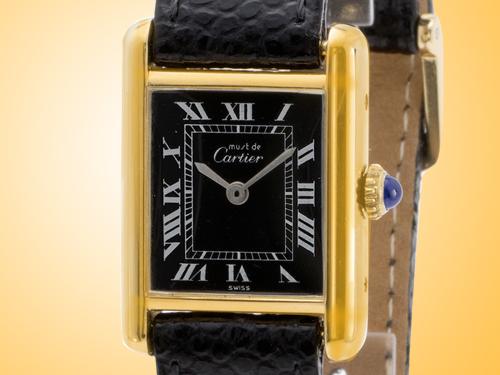 Cartier Must de Cartier Tank Vermeil Gold-tone Silver Manual Wind Vintage Ladies Watch