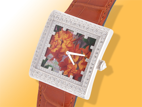 Corum Artisan Collection Buckingham Hand-painted Azalea Dial Ladies 18K White Gold Diamond Watch 138.182.69
