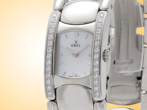 Ebel Beluga Manchette Stainless Steel / Diamonds Quartz Ladies Watch Model 9057A28/681050