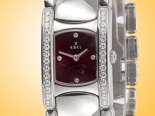 Ebel Beluga Manchette Stainless Steel / Diamonds Quartz Ladies Watch Model 9057A28