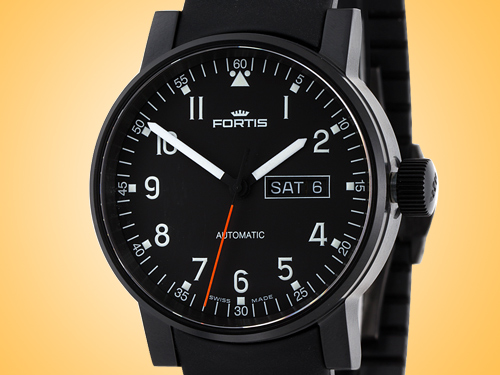 FORTIS Spacematic Pilot Professional Day / Date PVD Automatic Men's Watch 623.18.71.K