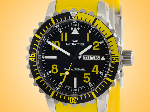 FORTIS Marinemaster Day / Date Yellow Automatic Stainless Steel Men's Watch 670.24.14.Si04