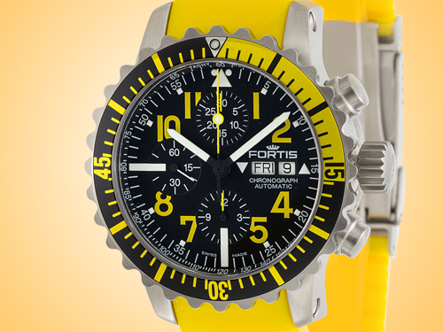 FORTIS Marinemaster Chronograph Yellow Automatic Stainless Steel Men's Watch 671.24.14.Si04
