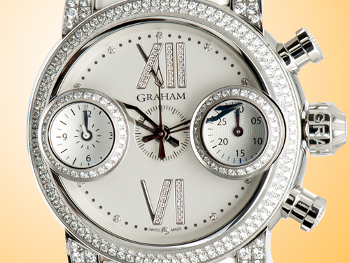GRAHAM Swordfish Diamonds Ladies Stainless Steel Chronograph Watch 2SWFS.W16R.C52S