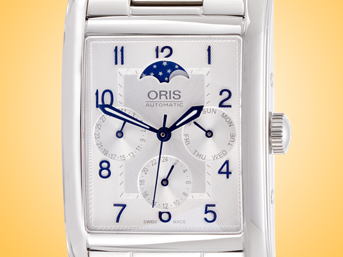 Oris Rectangular Complication Silver Guilloche Dial Automatic Stainless Steel Men's Watch 01 582 7694 4031MB