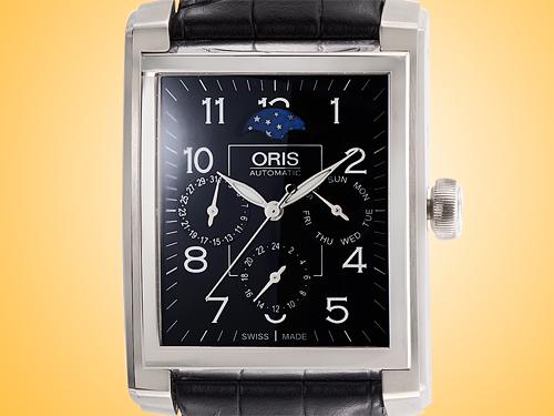 Oris Rectangular Complication Black Dial Automatic Stainless Steel Men's Watch 01 582 7658 4034LS