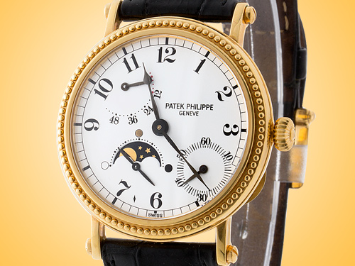 Patek Philippe 5015J 18K Yellow Gold Power Reserve Moonphase Automatic Men's Watch