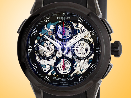 Perrelet Skeleton Split Second Chronograph Men�s Automatic Stainless Steel DLC-coated Watch A1045/4A