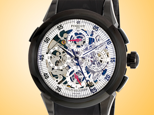 Perrelet Skeleton Split Second Chronograph Men�s Automatic Stainless Steel DLC-coated Watch A1045/3A