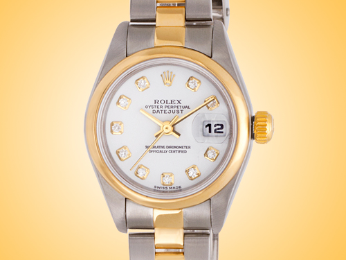 Rolex Oyster Perpetual DateJust 18K YG / SS, Diamond Markers Ladies Watch Model: 79163