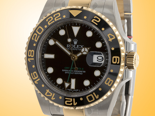 Rolex Oyster Perpetual GMT Master II Men�s Stainless Steel and 18K Yellow Gold Automatic Watch 116713LN