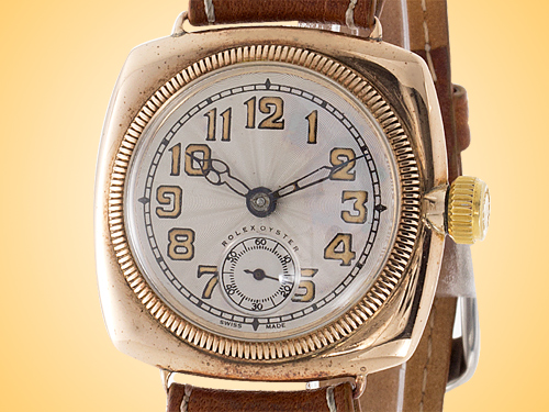 Rolex Vintage Oyster 9K Rose Gold Prima Manual Movement Watch (Circa 1920's)