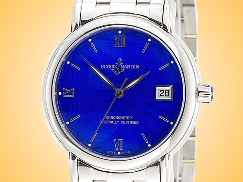 Ulysse Nardin San Marco Classico Chronometer Automatic Blue Enamel Dial Stainless Steel Men's Watch 133-77-9-7/E3