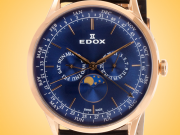 EDOX Les Vauberts Calendar Rose Gold PVD Stainless Steel Men's Watch Model: 40101 37RC BUIR