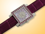 Bvlgari Quadrato Beautiful Purple MOP Ladies Watch