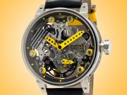 B.R.M Automatic Power Reserve Skeleton Dial PVD Men's Watch R46-TN-AJ
