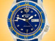 "Seiko 5 X Street Fighter Limited Edition Chun-Li ""Blue Jade"" Automatic Stainless Steel Watch SRPF17K1"