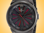 Perrelet Turbine Double Rotor Black and Red Dial Black DLC Stainless Steel Men's Watch A1047/1