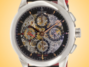 Perrelet Skeleton Automatic Chronograph Date Dual Time Stainless Steel Men's Watch A1010/9